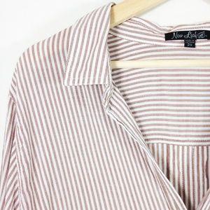 Striped Button Down Top Tan White Classic 2X
